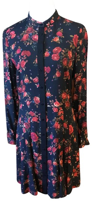 Item - Black with Rose Print (Color Looks Somewhat Navy In Photos But Is Black) Floral Day To Evening Short (C070249) Mid-length Work/Office Dress Size 0 (XS)