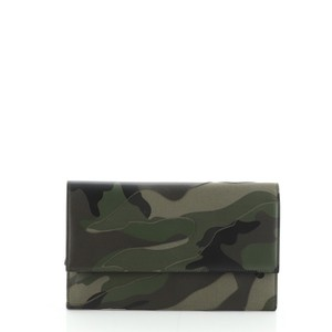 Valentino Canvas Leather Green, Print Clutch