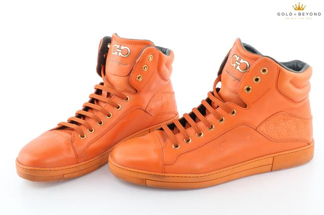 Item - Orange Calfskin High-top Sneaker Size 9 Shoes