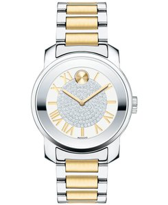 Movado Two Tone Stainless Steel Crystal Pave Dial Womens 3600256