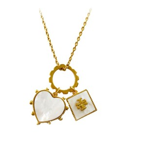 Tory Burch BRAND NEW Tory Burch Semi-Precious Mother of Pearl Charm Necklace GOLD