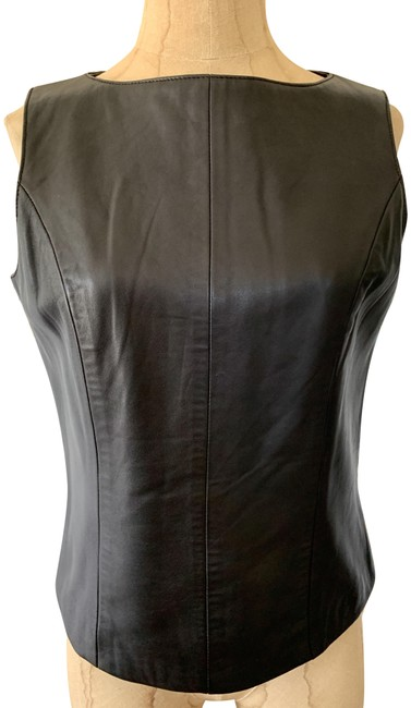 Item - Brown Pre-owned Leather Back Zipper Expresso Vest Size 6 (S)