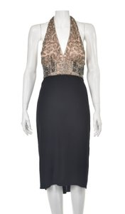 Reem Acra Halter Silk Beaded Sequins Rhinestones Dress
