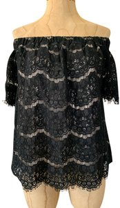 Love Fire Lined Lace Off The Shoulder Sexy Top Black