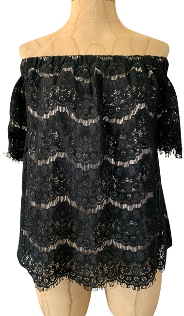 Item - Black Pre-owned Off The Shoulder Lace Lined Lg Blouse Size 12 (L)