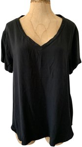 Cloth & Stone V-neck Short Sleeve Pullover Casual Comfortable Top Black