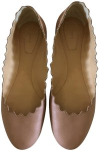 Chloé Beige Pink Scalloped Nude Flats