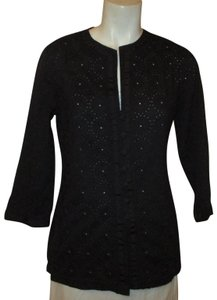 Chico's 3/4 Sleeve Cotton Eyelet Embroidered Onm001 Button Down Shirt black