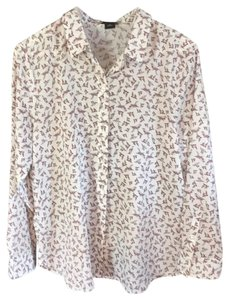 Ann Taylor Top Creamy white and pink
