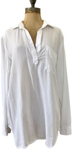 Cloth & Stone V Neck Pullover Long Sleeve Casual Top White