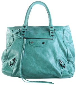 Balenciaga Leather Hand Tote in GREEN