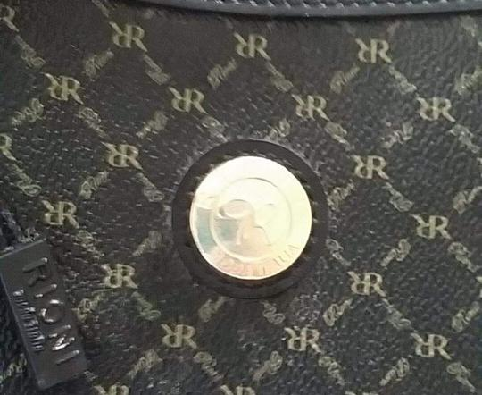 Rioni Gold Hardware Signature Logo Satchel in BLK / BROWN LETTERS