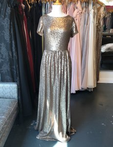 Watters Gold Sequin Theia 9112236 Modest Bridesmaid/Mob Dress Size 12 (L)