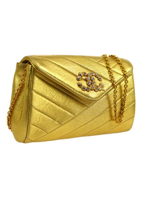 Item - Metallic Quilted Lambskin Flap Mini Gold Leather Cross Body Bag