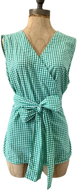 Item - Gingham Green Pre-owned Blouse Size 8 (M)