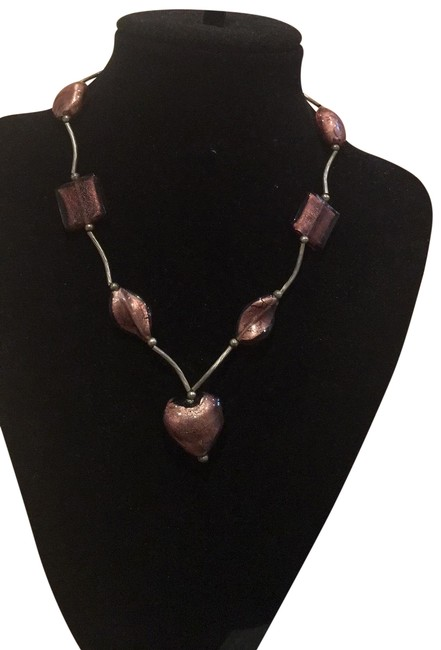 """Item - Purple Glass Stone 18"""" Silver Magnetic Lock Sty Necklace"""