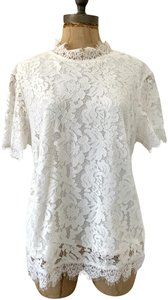 Laundry by Shelli Segal Lace Lined Short Sleeve High Neck Top White