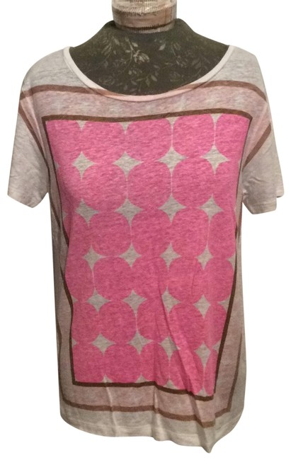 Item - White Pink & Brown Style#99238 Tee Shirt Size 10 (M)