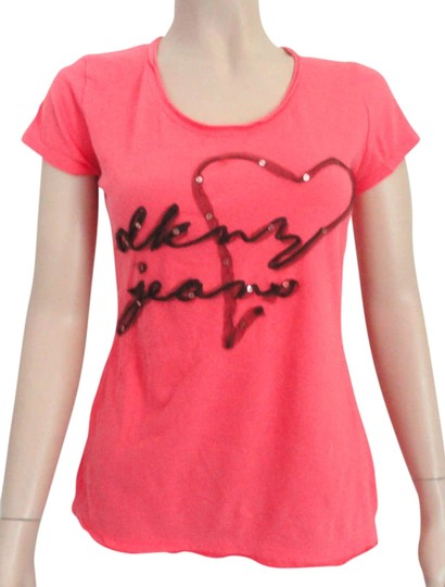d857319d8a4c9 DKNY Jeans Xs Xsmall Logo Sequins T Shirt Pink free shipping - www ...