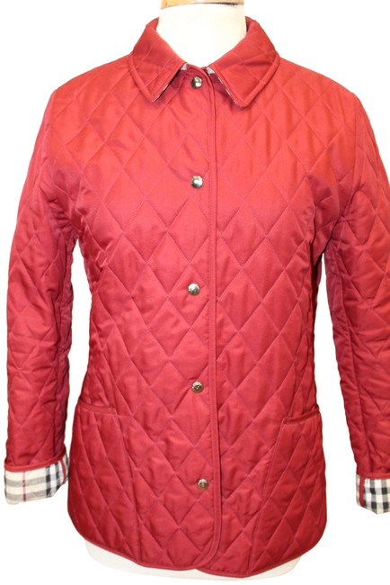Item - Red Quilted Coat Snap Front Coat Nova Check Plaid Activewear Outerwear Size 8 (M)