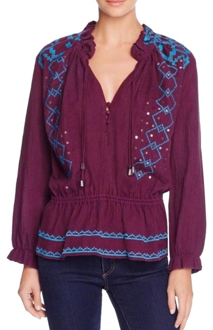 Item - Purple and Blue Piper Embellished Long Sleeve Peasant Blouse Size 12 (L)