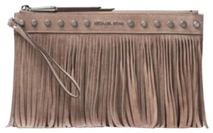 Michael Kors Suede Fringe Leather Brown Clutch