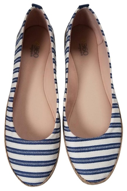 Item - White and Blue Geneen Striped Canvas Flats Size US 9.5 Regular (M, B)