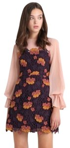 Anthropologie Lace Embroidered Sheath Balloonsleeves Dress