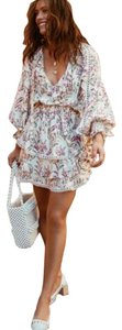 Spell & the Gypsy Collective short dress White Floral Boho Bohemian Lace Trim V-neck on Tradesy