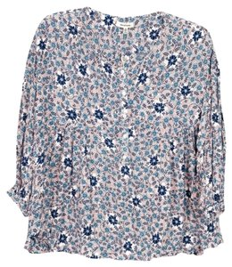 Max Studio #floral #blouse #flowy Button Down Shirt Red, White and Blue