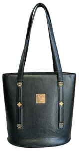 MCM Bucket Saffiano Leather Vintage Studded Tote in Black