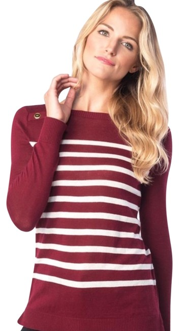 Item - Striped Crewneck Burgundy and White Sweater