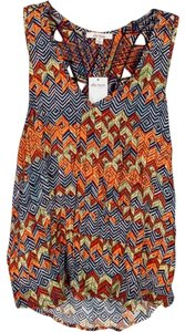 Ella Moss #sleeveless #crisscross #patterned Top Blue and Orange