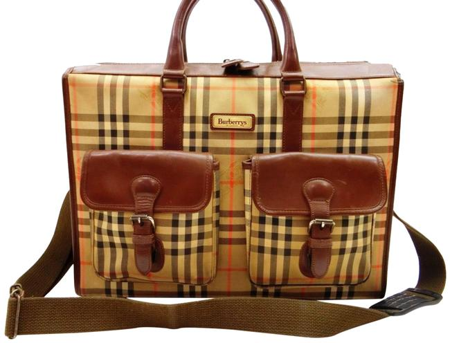 Item - Nova Check 2way Attache Briefcase with Strap 240167 Black X Brown X Beige X Red Canvas / Leather Messenger Bag