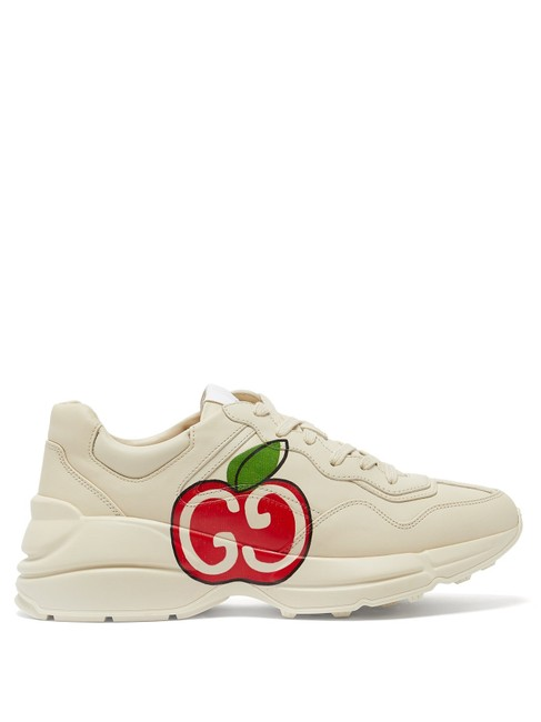 Item - Cream Mf Rhyton Apple-print Leather Trainers Sneakers Size EU 37.5 (Approx. US 7.5) Regular (M, B)