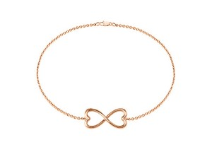 LoveBrightJewelry Pink Heart Infinity with 14k Rose Gold Vermeil In Sterling Silver 7 Inch Box Chain Bracelet
