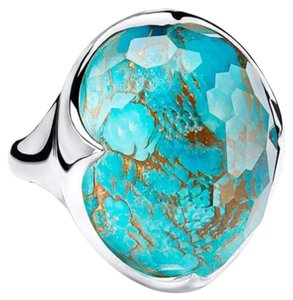 Ippolita 925 New Rock Candy Prince Ring in Rock Crystal & Bronze Turquoise