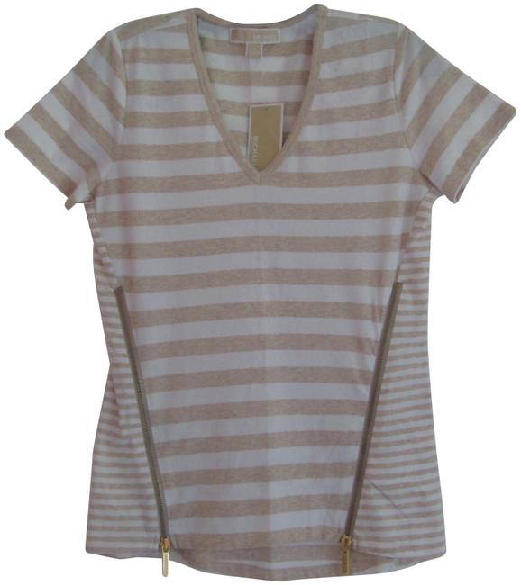 Item - Multi-color Oatmeal Heather Striped Exposed Zips V-neck Style No. Qs55fa82up Tee Shirt Size 6 (S)