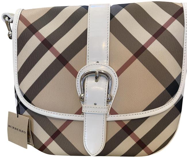 Item - Shoulder Messenger Supernova White and Beige Checkered Coated Canvas Cross Body Bag