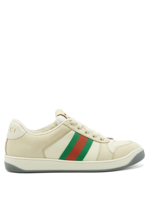 Item - White Green Mf Screener Leather Trainers Sneakers Size EU 38.5 (Approx. US 8.5) Regular (M, B)