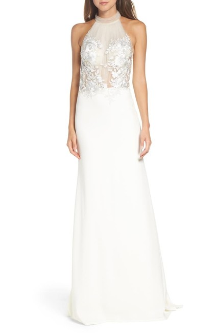 Item - Ivory Dianna Halter Embroidered Trumpet Gown Modern Wedding Dress Size 12 (L)