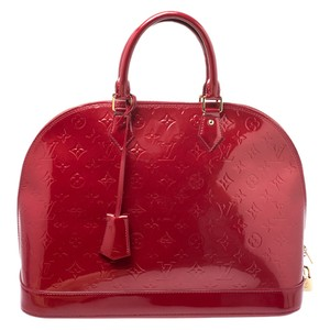 Louis Vuitton Patent Leather Monogram Satchel in Red