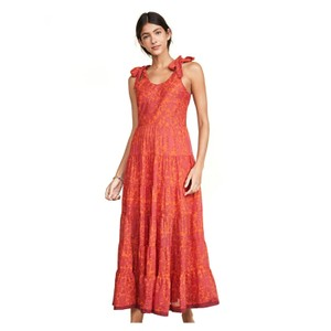 Red, Orange Floral Maxi Dress by Free People