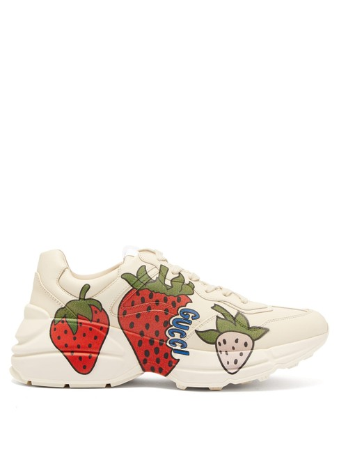Item - Ivory Mf Rhyton Strawberry-print Leather Trainers Sneakers Size EU 42 (Approx. US 12) Regular (M, B)