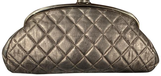 Item - Timeless Metallic Aged Silver Leather Clutch