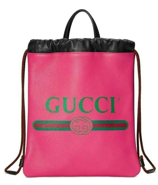 Item - Tote Bag Logo Drawstring Pink Leather Backpack
