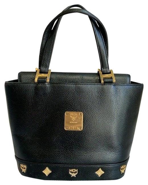 Item - Tote Bag Vintage Golden Studded Logo Motifs Small Black Leather Satchel