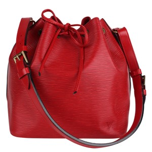 Louis Vuitton Noe Epi Canvas Shoulder Bags Leather Tote in Red