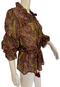 Figue Paisley Ruffled Top Multi Color