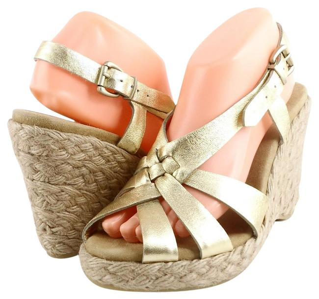 Item - Gold Ace Strappy Leather Espadrille Wedges Sandals Size US 9.5 Regular (M, B)